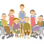 介護施設の高齢者とスタッフ