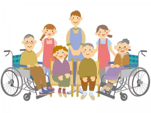介護福祉施設の高齢者とスタッフ