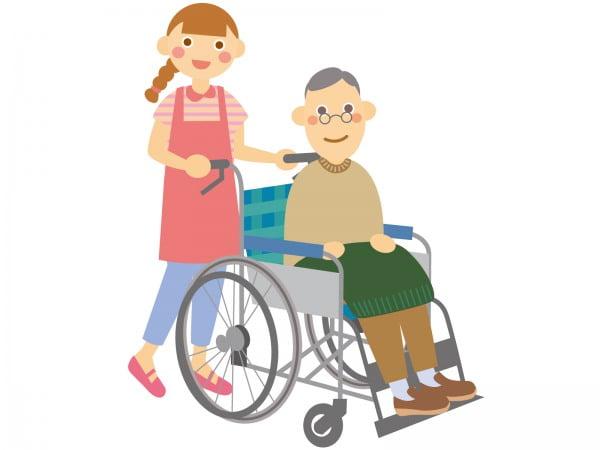 車椅子の高齢者を送迎する介護士の女性